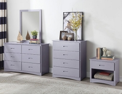 ORION GRAY FINISH SOLID WOOD 4 DRAWERS CHEST