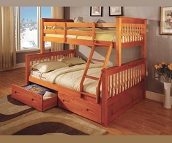 LOWE OAK FINISH TWIN FULL BUNK BED WITH STORAGE DRAWERS