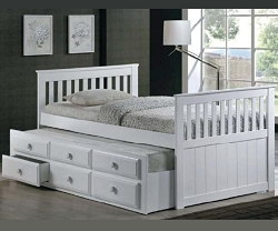 MISSION STYLE WOOD CAPTAIN BED WITH TRUNDLE AND DRAWERS