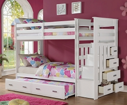 ALLENTOWN II TWIN TWIN WHITE BUNK BED WITH STORAGE AND TRUNDLE