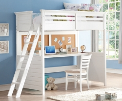 LACEY WHITE  TWIN LOFT BED WITH DESK