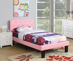 TOSHA PINK TUFTED FAUX LEATHER BED