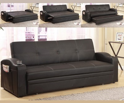 easton 4 in 1 faux leather sofabed futon. Black Bedroom Furniture Sets. Home Design Ideas