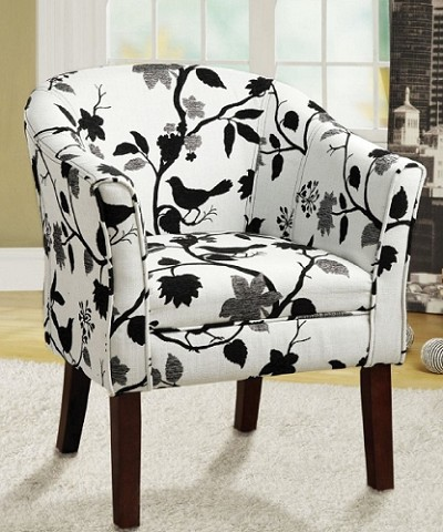 Black Birds Woven Fabric Barrel Back Accent Chair