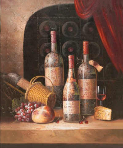 STILL LIFE WINE II HAND PAINTED OIL PAINTING