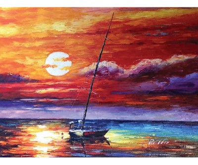 SUNSET SAIL HAND PAINTED OIL PAINTING