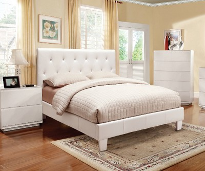 Velen White Vinyl Rhinestone Tufted Upholstered Bed