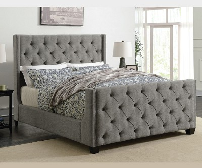 PALMA GREY TUFTED UPHOLSTERED BED ONLY
