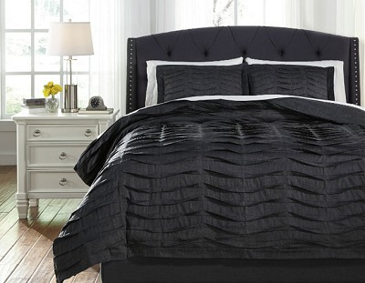 VOLTOS CHARCOAL PLEATED COTTON DUVET COVER SET