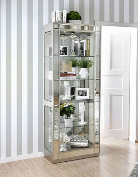 CARROLLTON GLASS MIRROR GLAMOUR CURIO CABINET WITH LIGHT