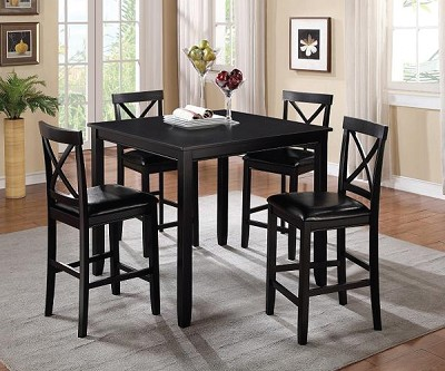 BLACK 5 PIECE COUNTER HEIGHT DINING SET