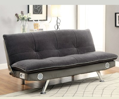 gallagher gray studio sofa bed futon with built in sound system. Black Bedroom Furniture Sets. Home Design Ideas