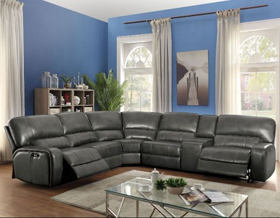 SAUL GRAY LEATHER -AIRE POWER RECLINER SECTIONAL