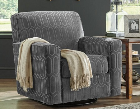 SWIVEL CHAIR IN ACCENT PILLOW FABRIC