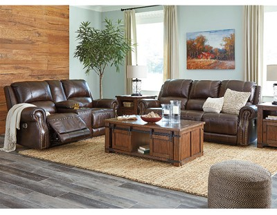 BUNCRANA LEATHER MATCH POWER SEATING WITH ADJUSTABLE HEADREST BY ASHLEY