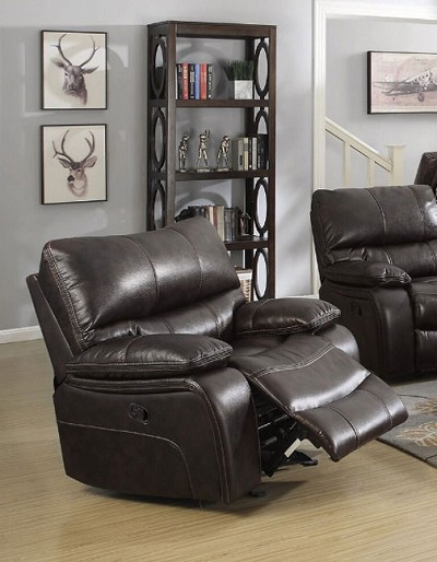 WILLEMSE DARK BROWN LEATHERETTE GLIDER RECLINER