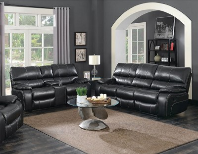 WILLEMSE BLACK LEATHERETTE MOTION SOFA LOVE SEAT COLLECTION