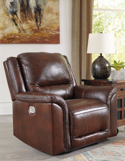 CATANZARO MAHOGANY LEATHER POWER RECLINER CHAIR WITH ADJUSTABLE HEADREST