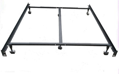 HEAVY DUTY STEEL METAL BED FRAME WITH CASTERS USE WITH HEADBOARD