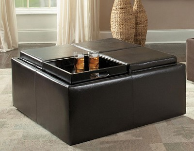 KAITLYN FAUX LEATHER STORAGE OTTOMAN WITH TRAYS WITH CASTERS