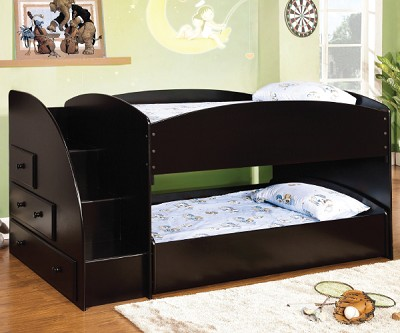 MERRITT BLACK TWIN TWIN BUNK BED WITH STEP LADDER AND STORAGE