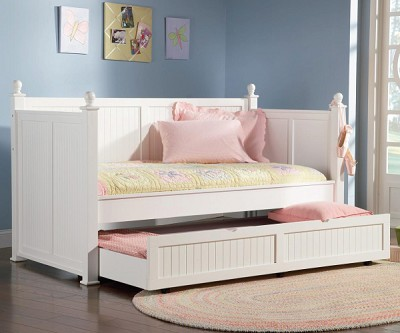 Hudson White Wood Daybed With Trundle