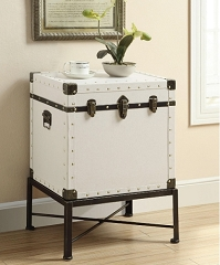 ANTIQUE WHITE BUCKLE ACCENT SIDE TABLE