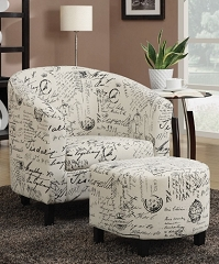 FRENCH SCRIPT CLUB ACCENT CHAIR WITH OTTOMAN
