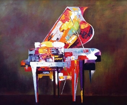 THE GRAND PIANO HAND PAINTED OIL PAINTING