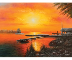 SUNSET LAKE HAND PAINTED OIL PAINTING