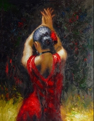 RED MAGIC LADY HAND PAINTED OIL PAINTING