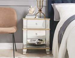 OSMA THREE DRAWERS MIRRORED WITH GOLD TRIM END TABLE