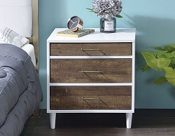 LUREL WHITE AND WEATHER OAK ACCENT DRAWER NIGHTSTAND