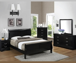 BLACK LOUIS PHILLIPS 4 PIECES BEDROOM SUITE
