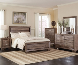 KAUFFMAN RUSTIC GRAYISH BROWN 4 PIECES BEDROOM SUITE