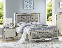 UPTOWN GLAMOUR SILVER TUFTED FAUX LEATHER BEDROOM COLLECTION