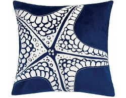 JUDE INDIGO EMBROIDERED FEATHER FILL ACCENT PILLOW