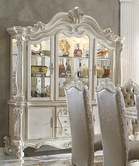 VERSAILLES COLLECTION BONE WHITE HUTCH AND BUFFET