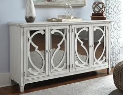 MIRIMYN FADED ANTIQUE WHITE PAINTED 68 INCHES ACCENT CABINET