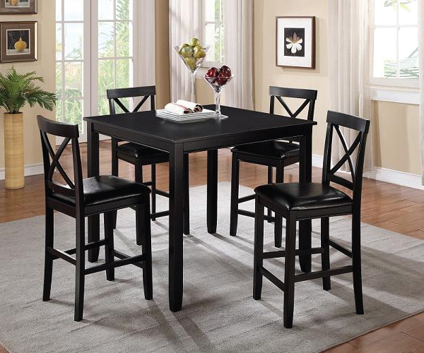 Black 5 Piece Counter Height Dining Set, Counter Height Dining Room Table
