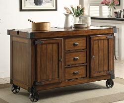 KABILI ANTIQUE TOBACCO FINISH KITCHEN CART SERVER