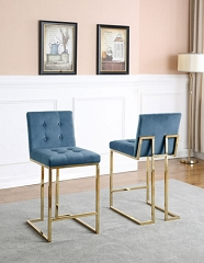 TEAL BLUE VELVET SEAT 30 INCHES BAR STOOL