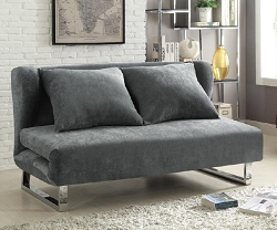 VELVET GREY UPHOLSTERED FABRIC QUEEN SIZE SOFA BED