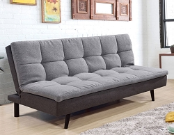 LIGHT GREY PILLOW TOP FUTON WITH REMOVABLE WASHABLE COVER
