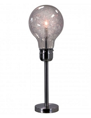 ANTHONY BLACK NICKLE SMOKE GLASS LIGHT BULB 26 INCHES TABLE LAMP