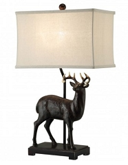 POLYRESIN ELK 28 INCHES TABLE LAMPS - A PAIR