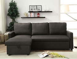 HILTONS CHARCOAL LINEN SECTIONAL SOFA CHAISE