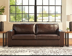 MORELOS CHOCOLATE LEATHER MATCH PULL OUT QUEEN SOFA SLEEPER