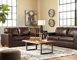 MORELOS CHOCOLATE LEATHER MATCH SOFA LOVE SEAT COLLECTION