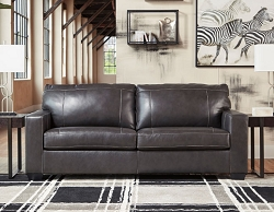 MORELOS GRAY LEATHER MATCH PULL OUT QUEEN SOFA SLEEPER